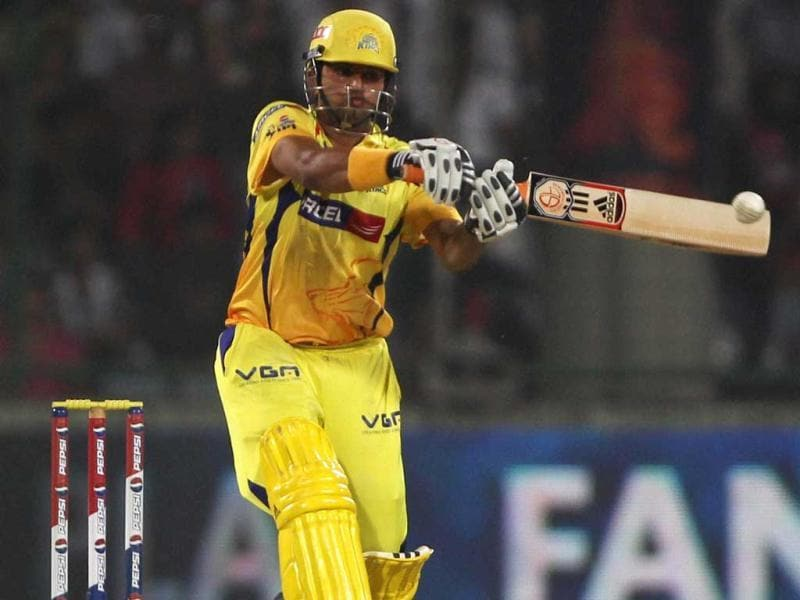 Chennai Super Kings batsman Suresh Raina plays a shot against Delhi Daredevils during their match in New Delhi. (PTI Photo)