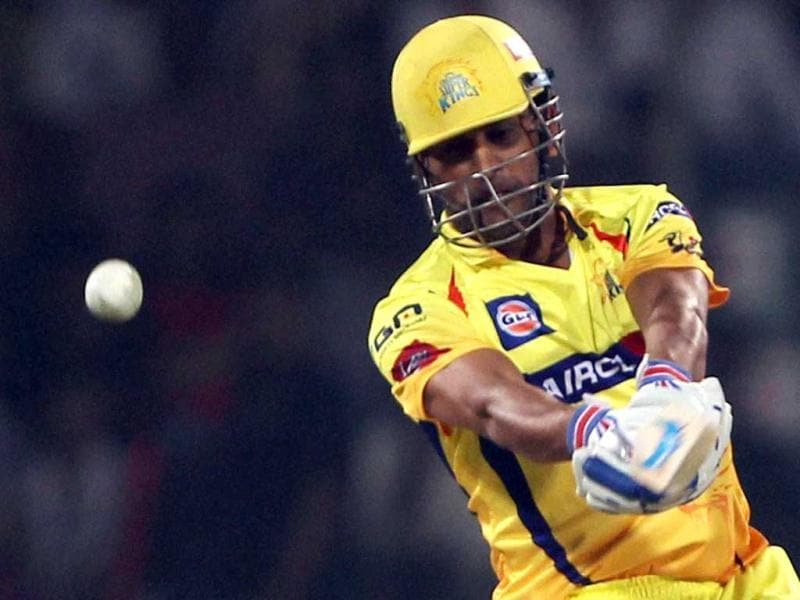 Chennai Super Kings batsman MS Dhoni plays a shot against Delhi Daredevils during their match in New Delhi. (PTI Photo)