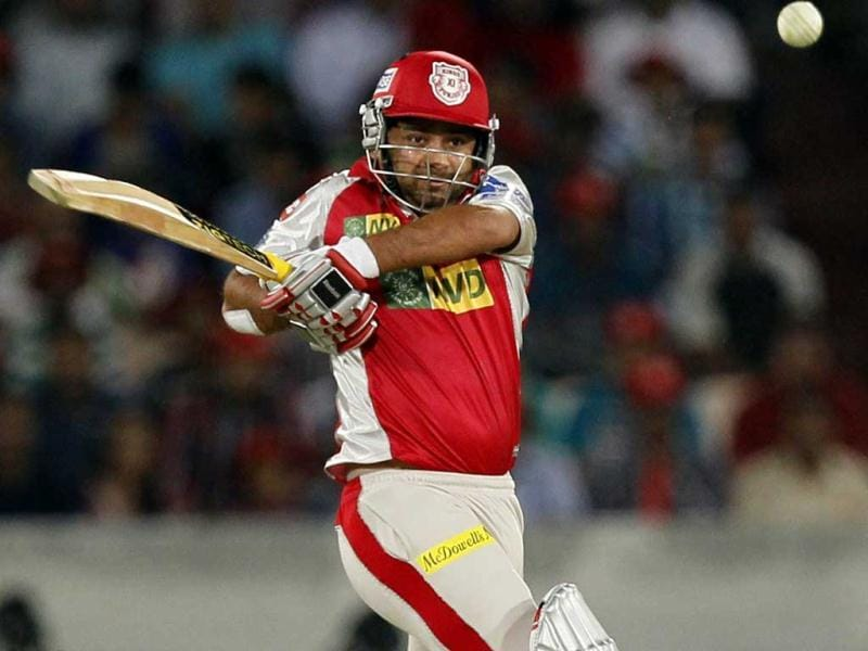 Kings XI Punjab player Piyush Chawla plays a shot during T20 cricket match against Sunrisers Hyderabad (SRH) at the Rajiv Gandhi International Stadium, in Hyderabad. HT Photo/Kunal Patil