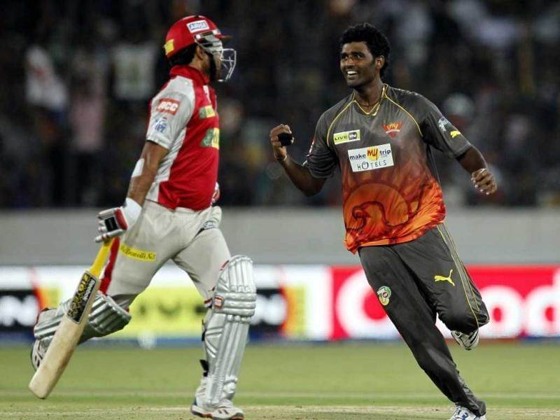 Sunrisers Hyderabad player Thisara Perera celebrates the wicket of Kings XI Punjab player Piyush Chawla during T20 cricket match against Kings XI Punjab (KXIP) at Rajiv Gandhi International Stadium, in Hyderabad. HT Photo/Kunal Patil