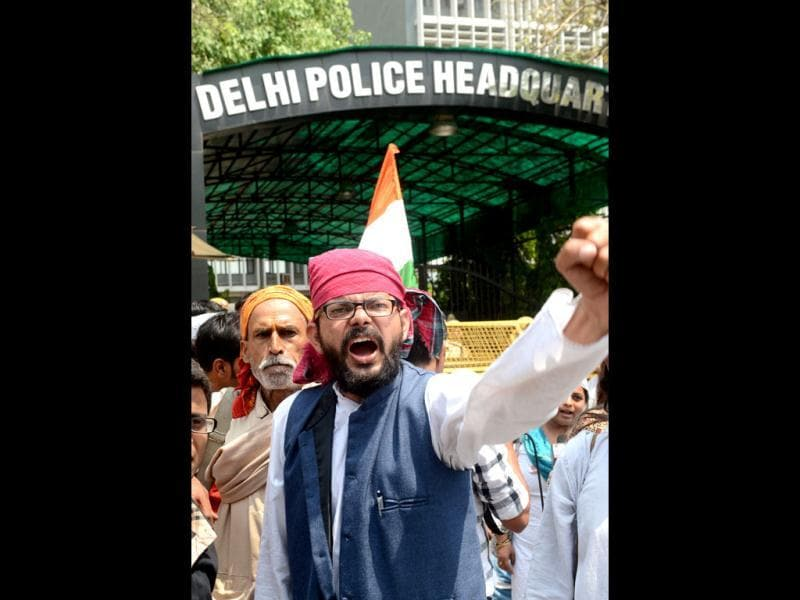 Protestors shout anti-government and Delhi police slogans during a demonstration against the rape of a five-year old girl in front of police headquaters in New Delhi. AFP