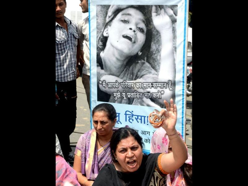 Protests over the brutal rape of a five-year-old girl gain momentum in front of the police headquarters in New Delhi. AFP