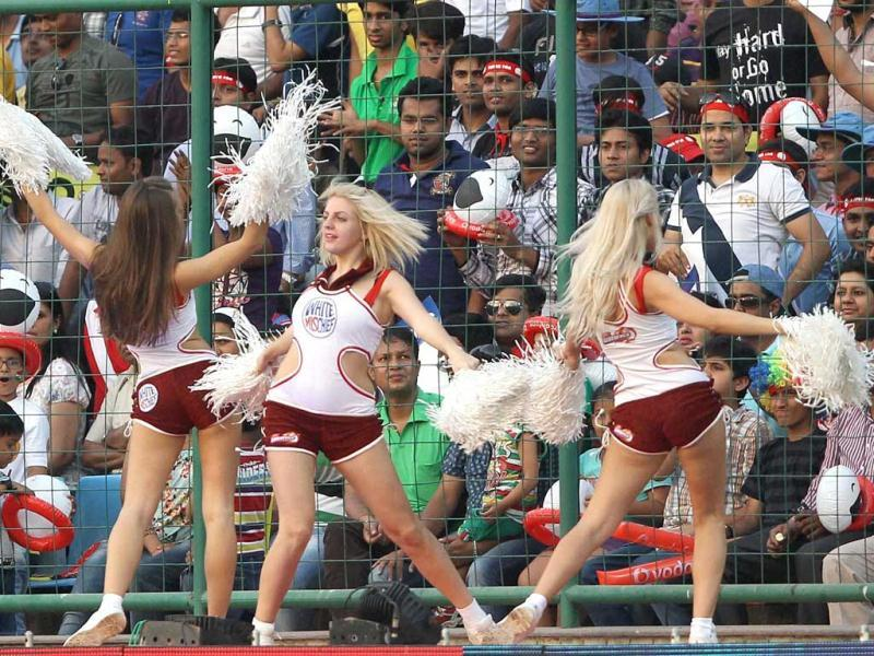 Cheerleaders during the T20 League match between Mumbai Indians and Delhi Daredevils at Firozshah Kotla stadium in New Delhi. PTI