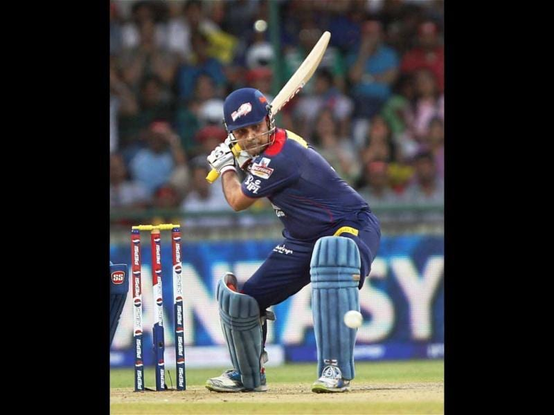 Delhi Daredevils batsman Virender Sehwag plays a shot during the T20 League match against Mumbai Indians at Firozshah Kotla stadium in New Delhi. PTI