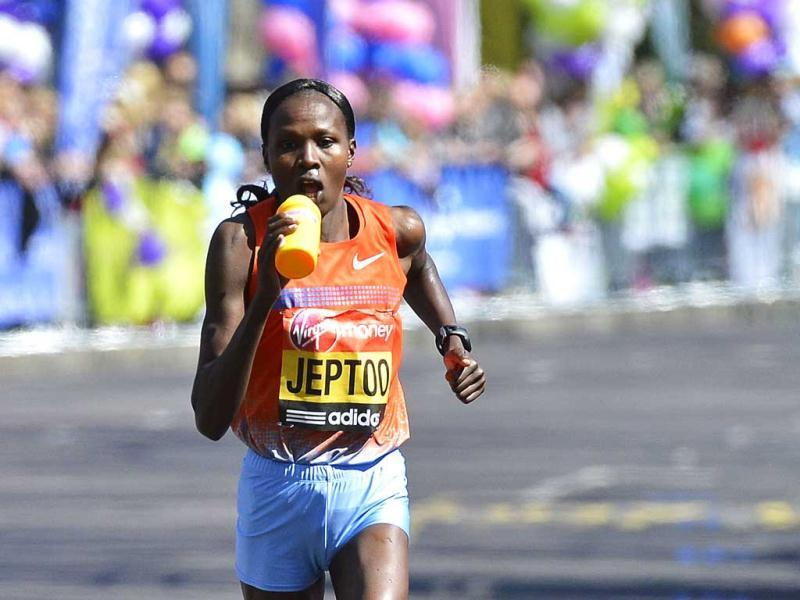 Priscah Jeptoo of Kenya runs on her way to winning the women's marathon at the London Marathon. Undaunted by the Boston Marathon bombings, big crowds lined the route of London's mass road race on Sunday to cheer on around 36,000 runners, many of whom wore black ribbons to remember the dead and wounded. Reuters