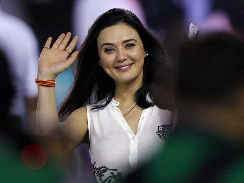Kings XI Punjab's co-owner and actor Preity Zinta celebrates victory over KKR during the T20 League match in Mohali. PTI