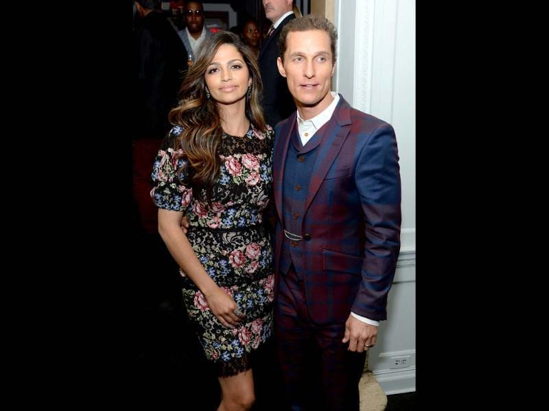 Camila Alves and Matthew McConaughey attend the after party for The Cinema Society with FIJI Water & Levi's screening of