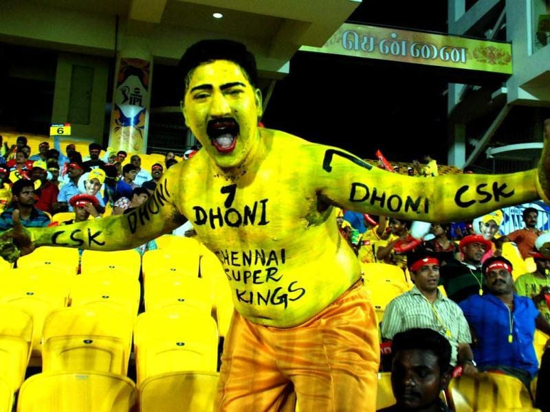 A supporter of Chennai Super Kings is seen during the T20 match against Rajasthan Royals at MA Chidambaram stadium in Chennai. (PTI)