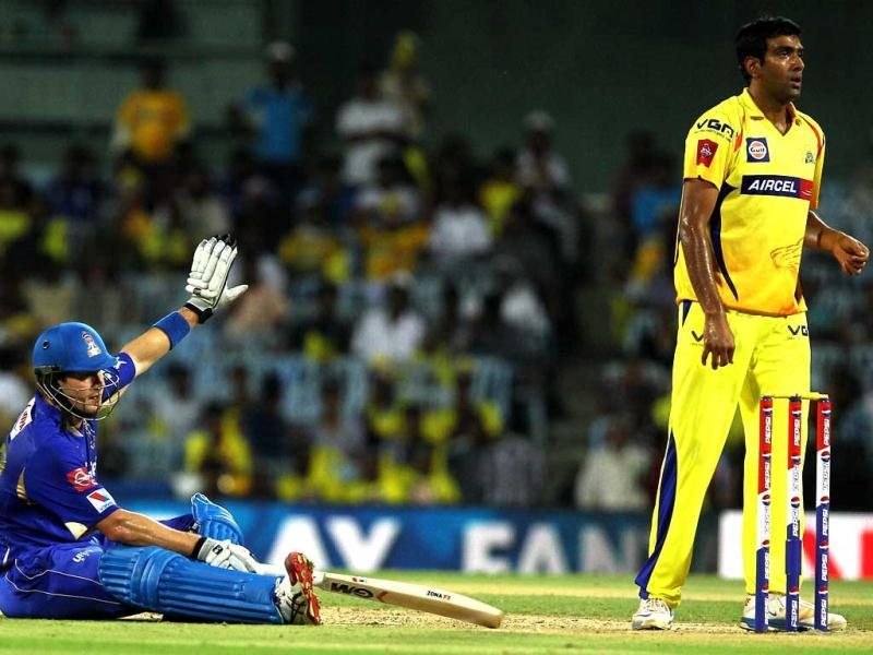 Rajasthan Royals player Shane Watson during the T20 match against Chennai Super Kings at MA Chidambaram Stadium in Chennai. (PTI)