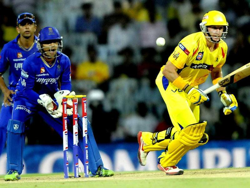 Chennai Super Kings player Michael Hussey in action during the T20 match at MA Chidambaram Stadium in Chennai. (Sunil Saxena/HT)
