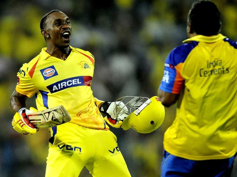 Chennai Super Kings player Dwayne Bravo after victory over Rajasthan during the T20 match at MA Chidambaram Stadium in Chennai. (Sunil Saxena/HT)