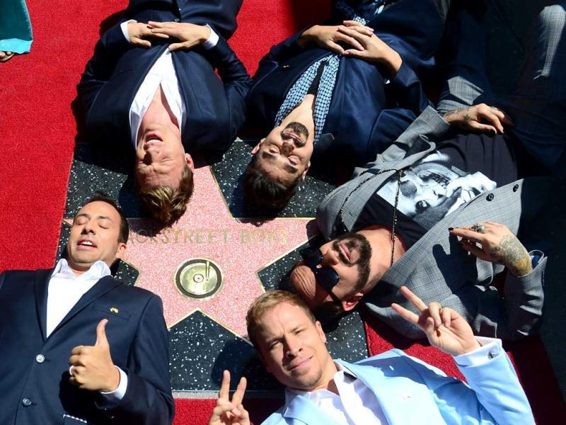 The Backstreet Boys celebrate their 20 year career with a Star on the Hollywood Walk of Fame in Hollywood, California. (AFP Photo)