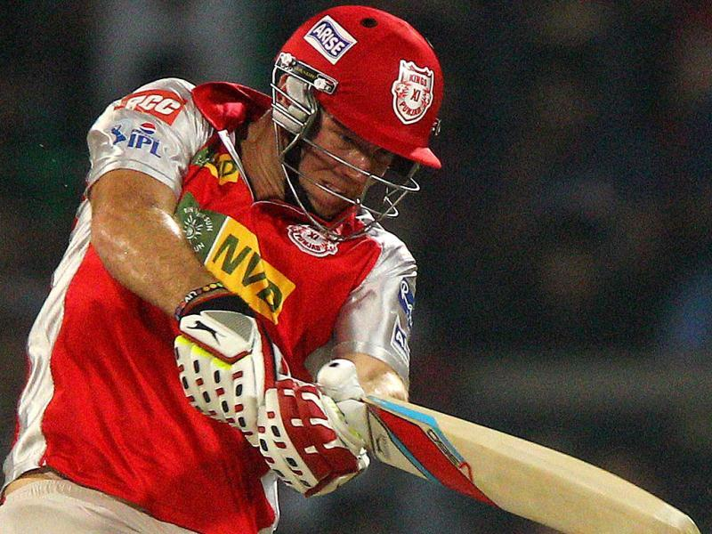 Kings XI Punjab's David Miller plays a shot during the T20 match against Delhi Daredevils in New Delhi. (PTI)