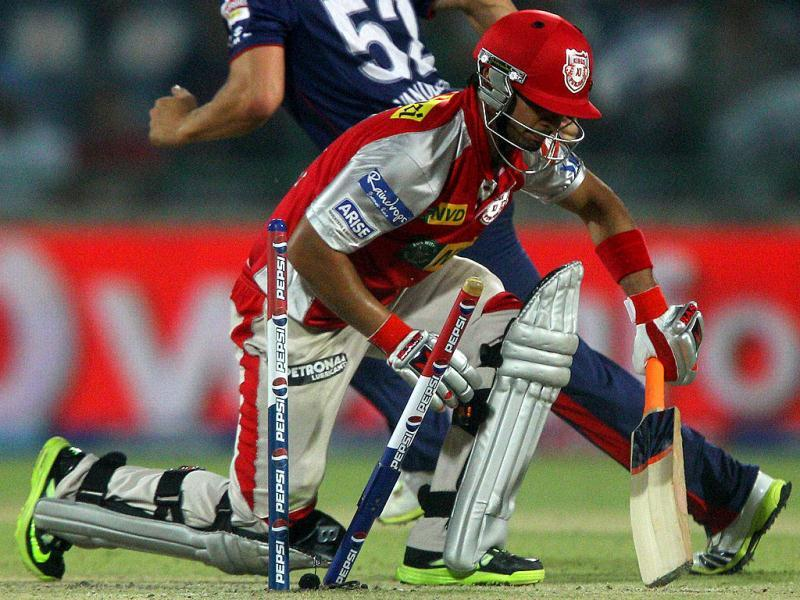 Kings XI Punjab batsman Mandeep Singh gets run out during the T20 match against Delhi Daredevils in New Delhi. (PTI)