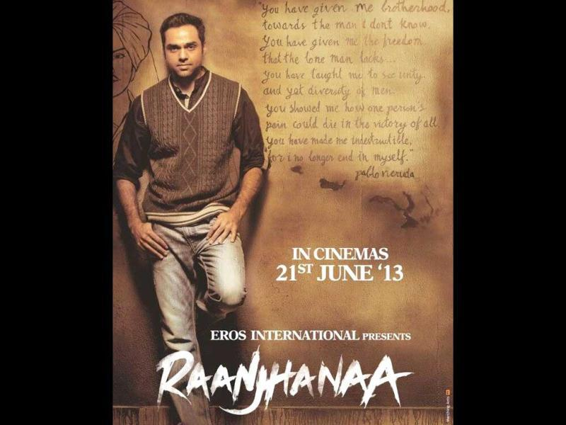 Abhay Deol poses in this poster of Raanjhna.