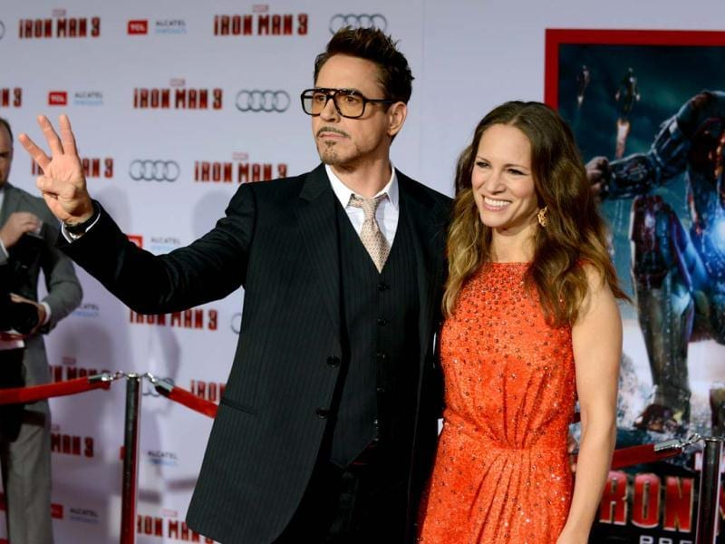 Robert Downey Jr (L) and Susan Downey arrive at the world premiere of Marvel's Iron Man 3 at the El Capitan Theatre in Los Angeles, California. (AP Photo)