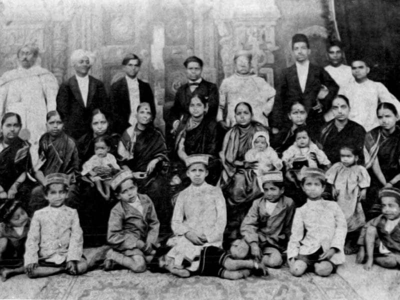 The family of Dadasaheb Phalke in 1926 posing for photographs during the wedding of Dadasaheb's daughter Mandakini.