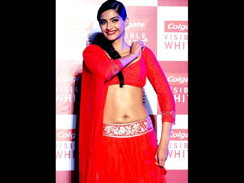 Sonam Kapoor poses for a photo during a product launch in Mumbai on April 25. AFP Photo
