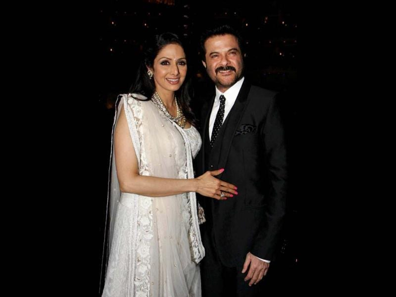Sridevi (L) and Anil Kapoor attend a promotional event in Mumbai on April 23, 2013. (AFP Photo)