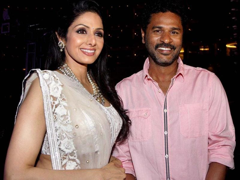 Sridevi with actor-choregrapher Prabhu Deva at a party for winning Padma Shri Award. (PTI Photo)