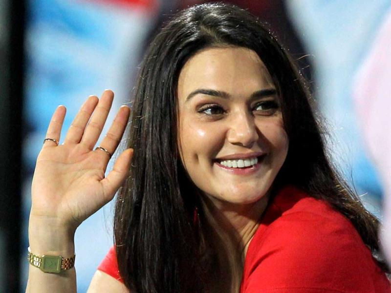 Kings XI Punjab's owner Preity Zinta seen during a match against KKR during the T20 match in Kolkata. (PTI)