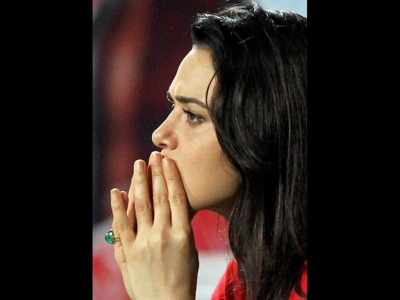Preity Zinta looks anxious during the match. PTI Photo