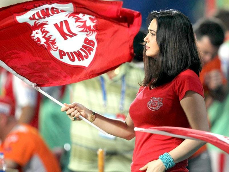 Kings XI Punjab owner Preity Zinta cheers for her team during IPL 6 match against KKR in Kolkata on Friday. PTI Photo