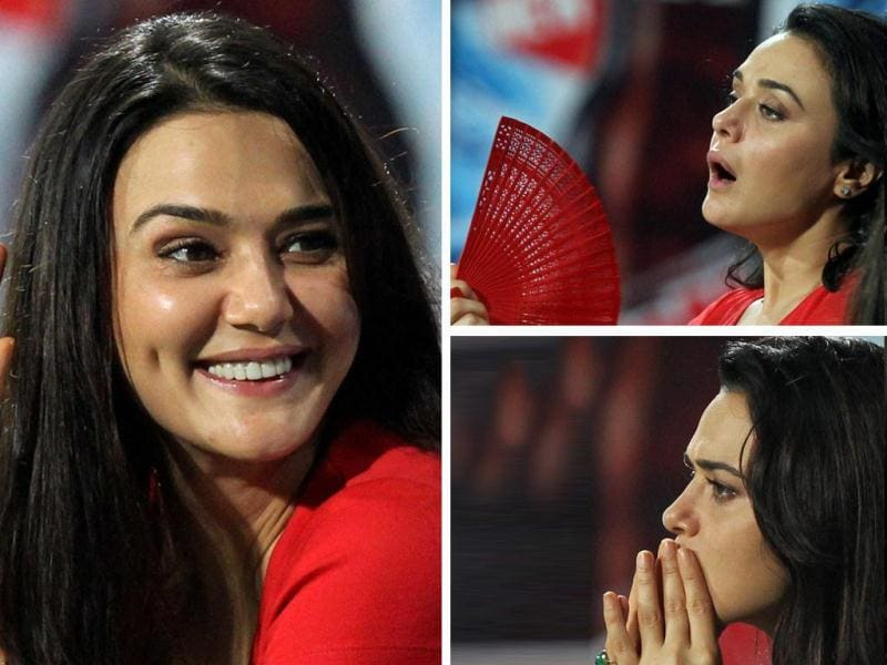 Preity Zinta, owner of Kings XI Punjab, was spotted watching IPL 6 match against KKR in Kolkata on Friday. Check out her many emotions!