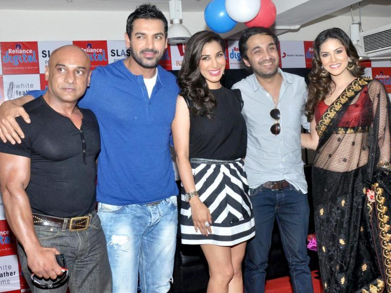 Bollywood actors John Abraham, Sophie Choudhary, Siddhant Kapoor and Sunny Leone during promotion of their new film