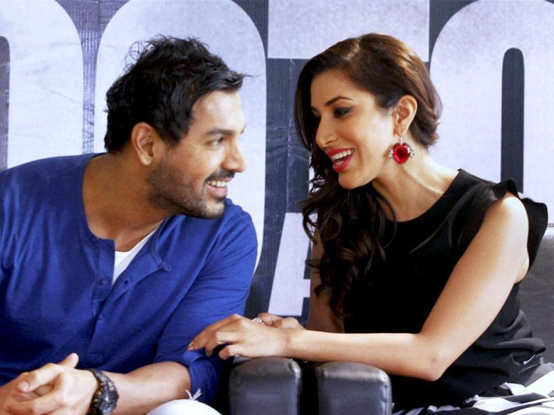 John Abraham, Sophie Choudhary during promotion of their film Shootout at Wadala in Ahmedabad. Sunny Leone and Siddhant Kapoor, too, accompanied the crew for promotions of the film that releases on May 3. We bring you new pics from the event, take a look. (PTI Photo)