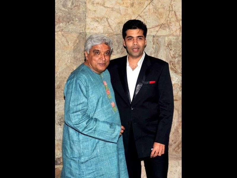 Filmy duo: Lyricist Javed Akhtar and Bombay Talkies co-director Karan Johar. (AFP Photo)