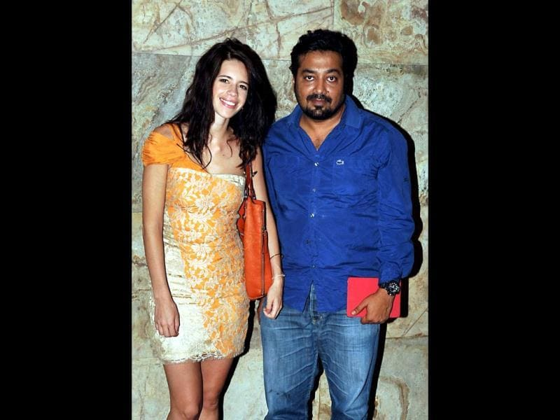 Colourful couple: Kalki Koechlin poses with Bombay Talkies co-director and husband Anurag Kashyap. (AFP Photo)