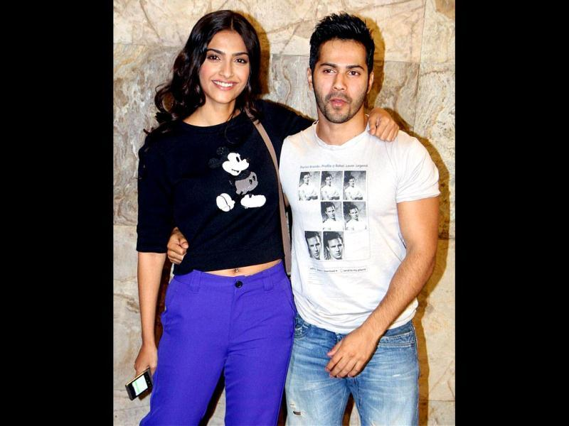 New BFFs? Sonam Kapoor seen bonding and posing with Student of The Year star Varun Dhawan. (PTI Photo)