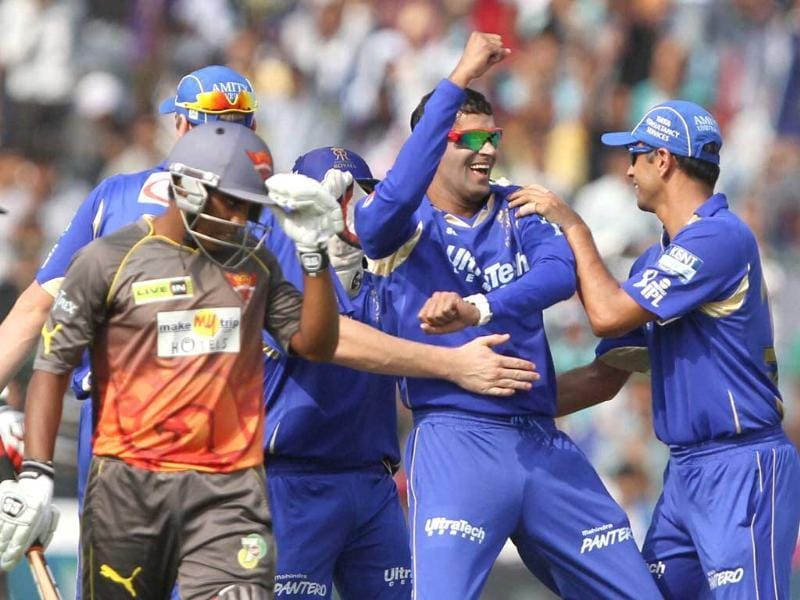 Rajasthan Royals player Ajit Chandila with teammates celebrates the dismissal of Sunrisers Hyderabad player Akshath Reddy during the T20 match in Jaipur. PTI