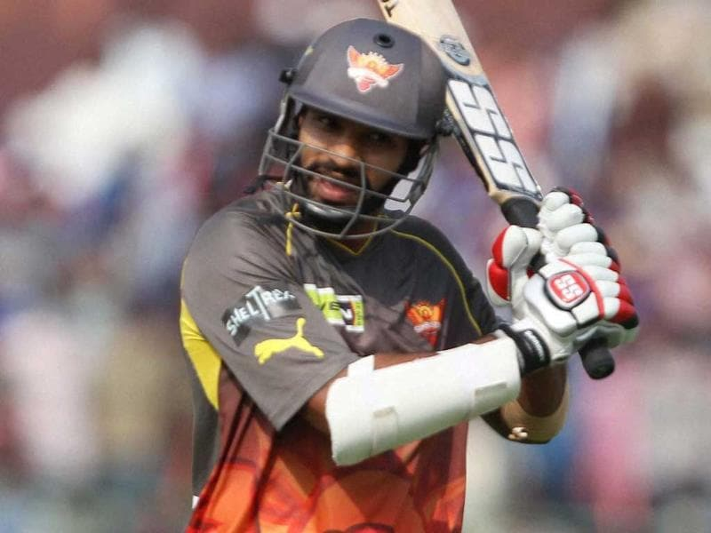 Sunrisers Hyderabad player Shikhar Dhawan reacts after his dismissal during the T20 match against Rajasthan Royals in Jaipur. PTI
