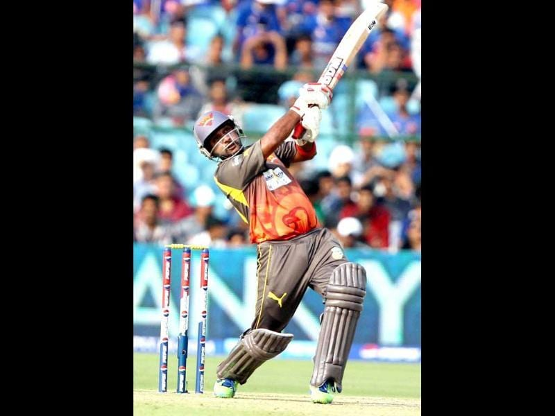 Sunrisers Hyderabad batsman Amit Mishra plays a shot against Rajasthan Royals during their T20 match in Jaipur. PTI