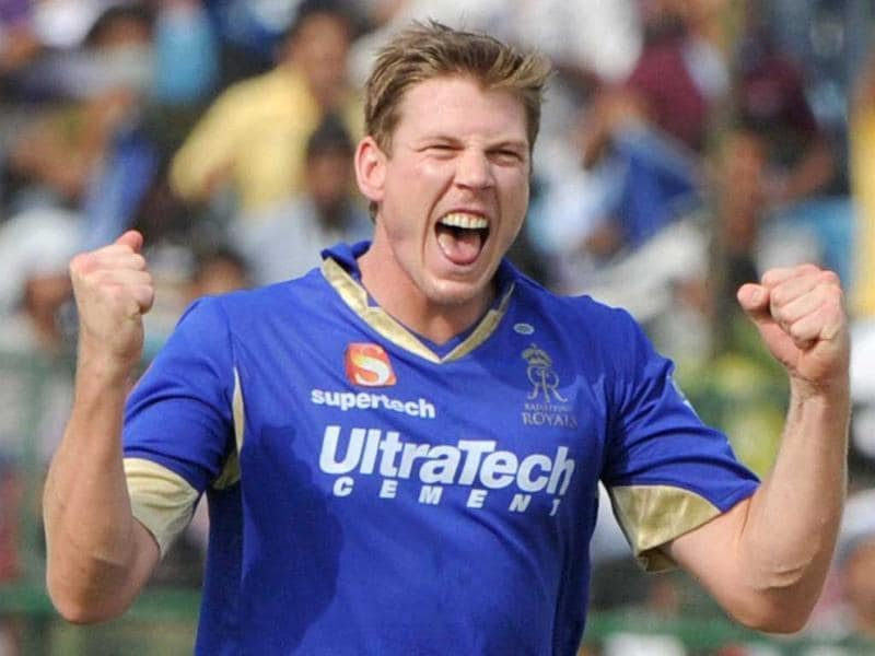 Rajasthan Royals player James Faulkner celebrates the dismissal of Sunrisers Hyderabad player S Dhawan during the T20 match in Jaipur. PTI