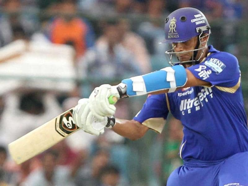 Rajasthan Royals batsman Rahul Dravid plays a shot against Sunrisers Hyderabad during the T20 match in Jaipur. PTI