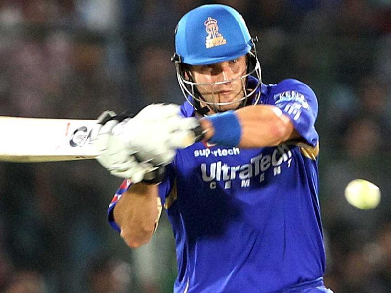 Rajasthan Royals batsman Shane Watson plays a shot against Sunrisers Hyderabad during the T20 match in Jaipur. PTI