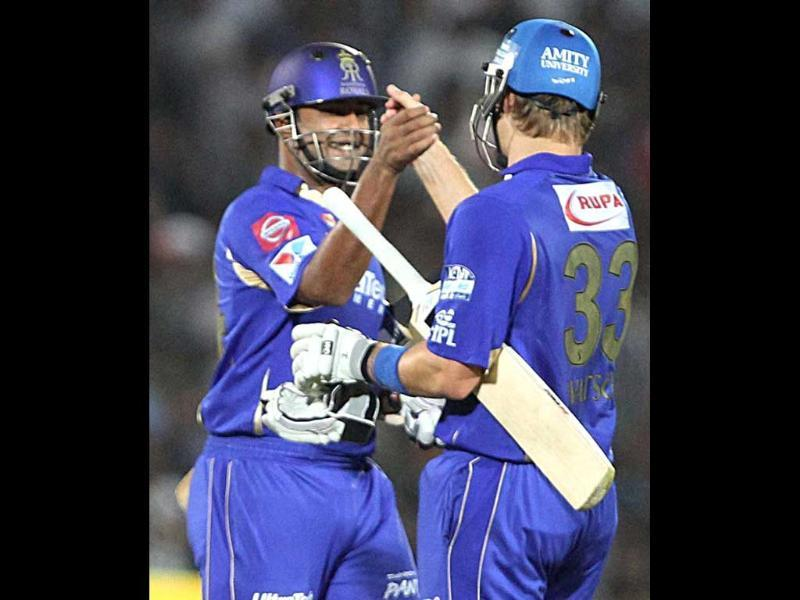 Rajasthan Royals batsman Shane Watson celebrates after winning over Sunrisers Hyderabad during the T20 match in Jaipur. PTI