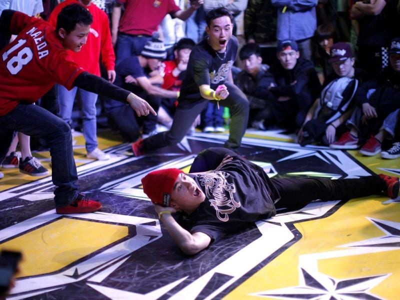 A dancer performs during the 2013 B-BOY Shanghai breakdancing competition in Shanghai. Reuters
