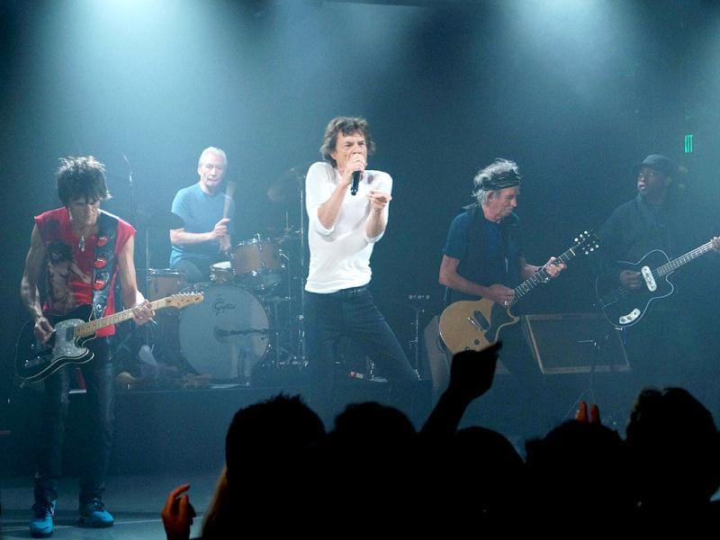 The Rolling Stones seen performing during a surprise gig at the Echoplex in Los Angeles. (AP)