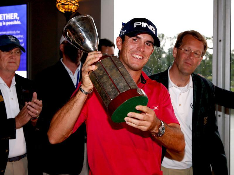 Billy Horschel celebrates after winning the Zurich Classic of New Orleans at TPC Louisiana in Avondale, Louisiana. (AFP)