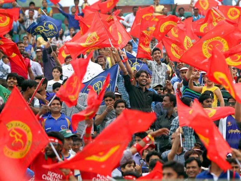 Cricket fans during the T20 League match between Royal Challengers Bangalore and Rajasthan Royals in Sawai Mansingh Stadium, Jaipur. (PTI Photo)
