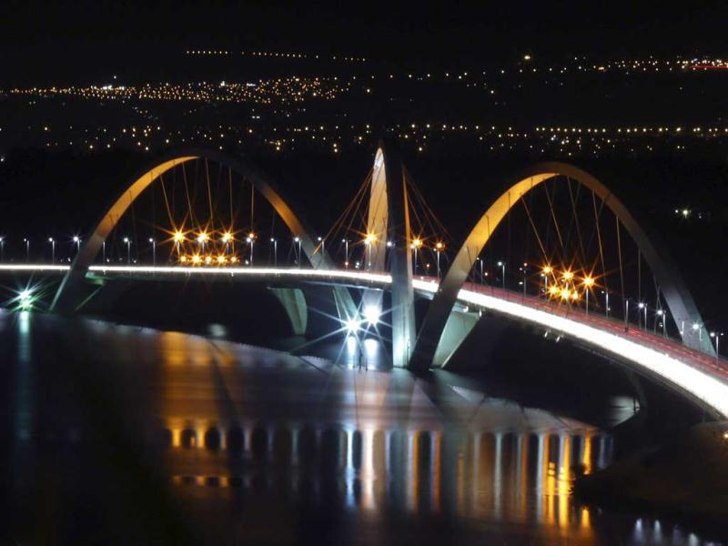 A view of the Juscelino Kubitschek bridge, which crosses the Paranoa Lake, is seen illuminated in orange, the national colour of the Netherlands. (Reuters)