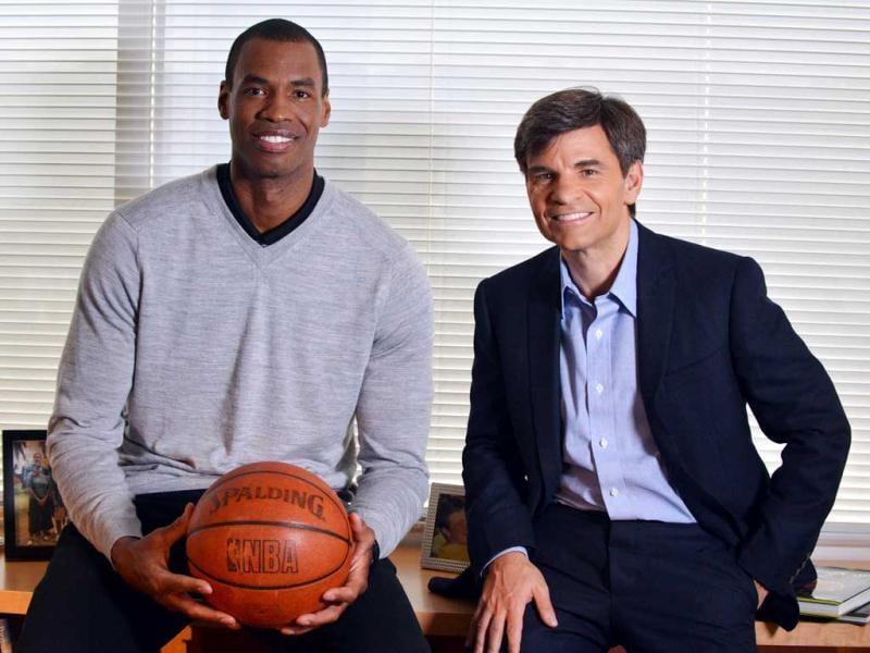 NBA basketball veteran Jason Collins (L) poses for a photo with television journalist George Stephanopoulos in Los Angeles. (AP)