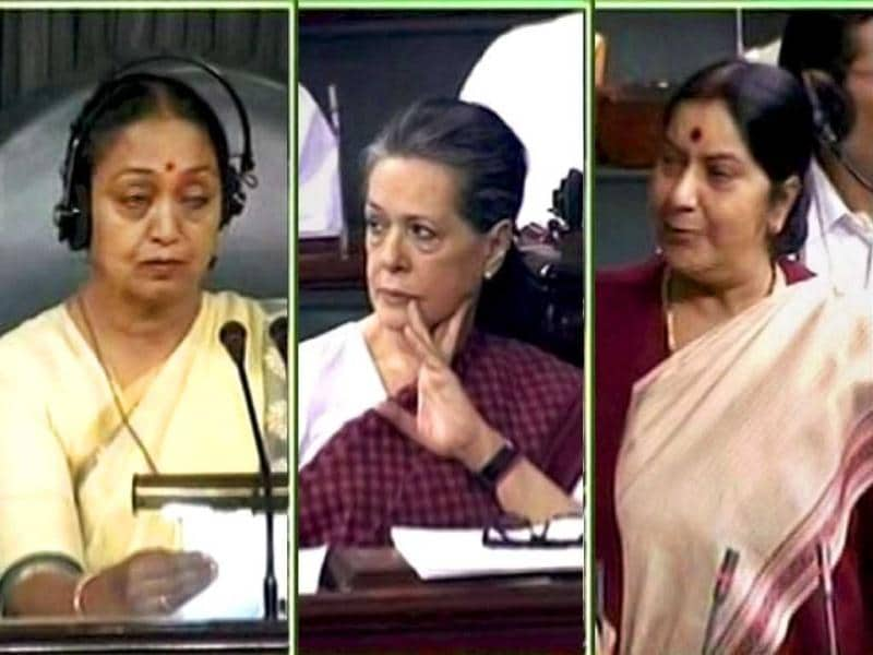 A combination picture of leader of Opposition Sushma Swaraj, speaker Meira Kumar and UPA chairperson Sonia Gandhi during a session in Lok Sabha, New Delhi. (PTI/TV Grab)