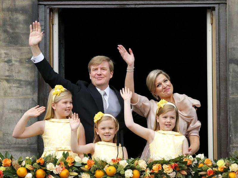 Dutch King Willem-Alexander and Queen Maxima appear on the balcony of the Royal Palace with their children, Catharina-Amalia, Ariane, and Alexia in Amsterdam, Netherlands. AP
