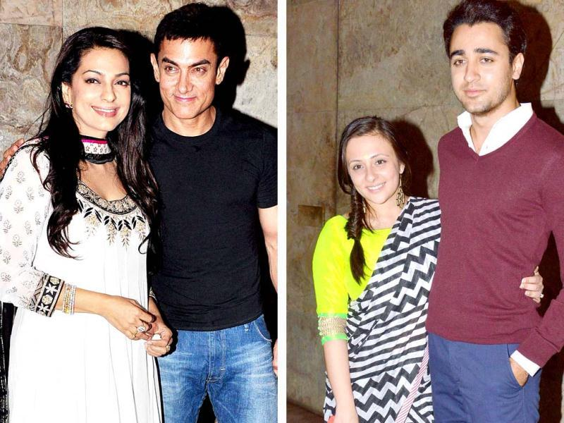Bollywood celebrities made their presence at Aamir Khan and Juhi Chawla starrer Qayamat Se Qayamat Tak's bash. The 1988 film, directed by Mansoor Khan, was screened in Mumbai late April 29, 2013.