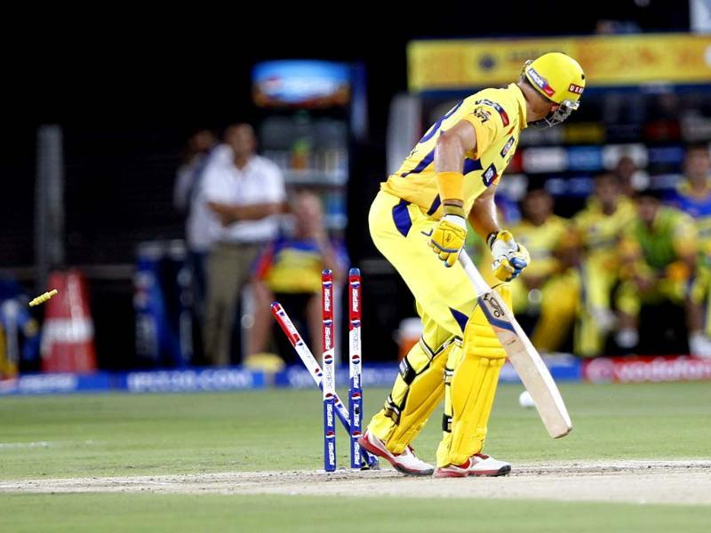 Pune Warriors India player Kane Richardson bowled Chennai Super King player Michael Hussy during their T20 match Chennai Super Kings and Pune Warriors India in Pune.HT photo/Vijayanand Gupta